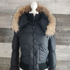 BCBGmaxazaria fur accent down puffer coat